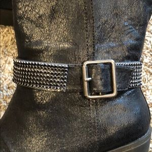 Shoes - Short Black Boots W/ Bling Buckle